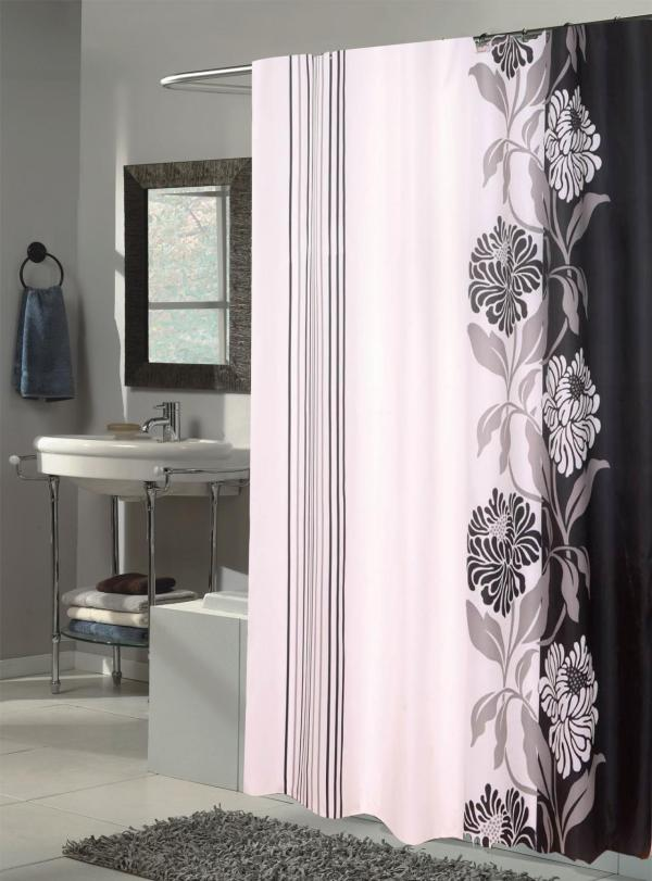 Carnation Home Fashions Extra Long Chelsea Fabric Shower Curtain Black White