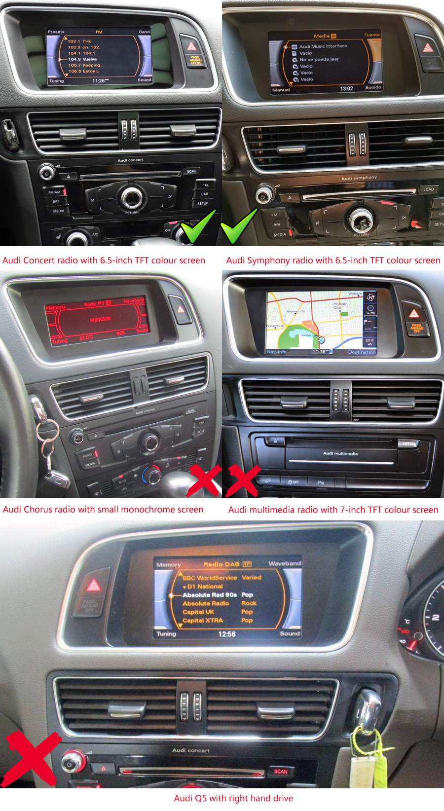 medium resolution of audi q5 factory radio