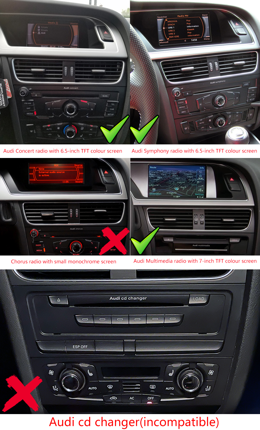 hight resolution of audi a4 a5 b8 factory radio