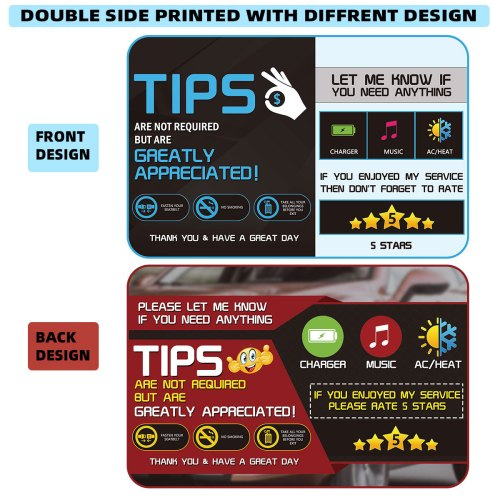 2 pack Uber Lyft Tips Rating Appreciated Rideshare Driver Signs double side double printed with different design 9x6