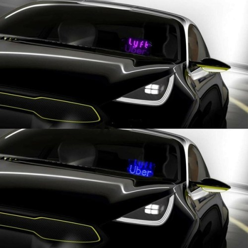 Both Uber & Lyft Two Light Sign in One Panel,Glow LED Light Logo Decal Stickers Hook on Car Window with DC12V Cigarette Lighter