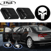3D Wireless Magnetic Pale Punisher Car Door Step LED Welcome Logo Shadow Ghost Light Laser Projector Lamp(Pale Punisher Skull)
