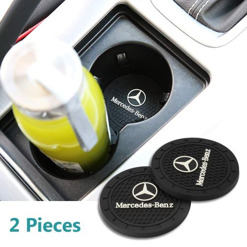 Auto sport 2.75 Inch Diameter Oval Tough Car Logo Vehicle Travel Auto Cup Holder Insert Coaster Can 2 Pcs Pack (Benz)