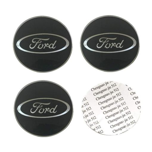 4Pack 65mm Auto Car Sticker Wheel Center Hub Cap Logo Aluminium fit for Ford Also Fits for F150 F250 F350, Edge, Explorer, Ranger