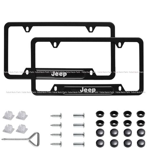 2pcs Stainless Steel License Frame with for Jeep,with Screw Caps Cover Set-Black (Jeep)