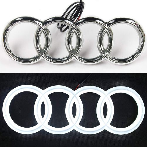 LED Emblem, Compatible with Audi, Front Car Grill Badge, Auto Illuminated Logo, Glowing Rings, Lights DRL Daytime Running Lights White(285 mm)