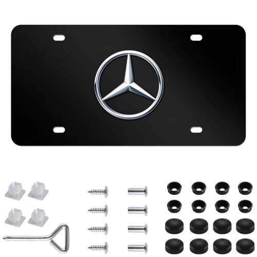 Mercedes Benz Logo Black Stainless Steel Front License Plate with Caps CLA CLS C E S SL SLK GL for Mercedes Benz (DIY Logo)