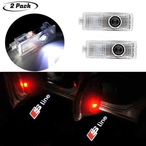 Laser Led Audi Sline Car Door Lights with Car Logo Projector Lights, 2 Pcs Wireless Car Door Led Welcome Laser Projector for A1, A3-A8, Q3,Q7,S3-S8,R8