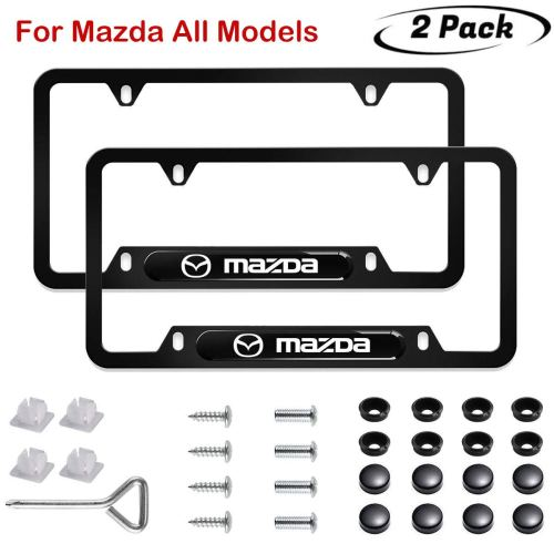 "√Fits for U.S standard license plate: The size of the Black Mazda License Frame is 6-3/8"" x 12-1/4"".This Car Matte Aluminum Licence Plate frame is designed not to block registration tags in all four corners in most states. √Crafted with high quality matte aluminum,with UV resistant 3D polyurethane logo. Ensures the Mazda plate frame never tarnish, rust or pit, meanwhile durable and always in a clean appearance. Superior in both quality and style. √Precision cut by high-tech computer guided lasers Puts the finishing touch on the front & back of your ride.Top-of-the-line license plate frame to make your car stand out. √Simple installation with vehicle's existing license plate fasteners(screws and matching screw covers included).A set of two,for both rear and front license plates √To guarantee YOUR 100% SATISFACTION with our Mazda License Plate covers, we offer you 30 days ZERO-WORRY money back warranty. Don't hesitate to take it home. Do you want your license plates of your car to stay in a great condition all the times? Would you like to add a cool look to your car? Are you tired of having your license plates bent and cracked very fast? Our License Plates will keep your licence plates look in a great condition all the times. Never again have that plates all bent and cracked so that you will need to buy new plates, use our license plates frames to protect your plates so it should always look brand new.  Benefits Of Buying The we Auto License Plates Frames… ★ Customized design to fit over any standard US or Canadian 6x12 inch License Plate ★ 2 Pack and all mounting hardware accessories needed are included. ★ Made of high quality aluminum steel which will protect from corroding, rusting and aging. ★ Lightweight but unbreakable strong and durable to last forever. ★ Our frames comes with 2 holes to secure it to you car, Some cars have 4 holes. Please be sure to check your vehicle before ordering. ★ The Frames is designed not to block registration tag in all four corners of the plates. ★ The Plates have a beautiful Black Finish look. ★ 100% NO HASSEL Lifetime Guarantee - NO RISK FOR YOU! ★ License Plate Frames installs easy and fast. Package Includes... ★ 2 x Stainless Steel Black Frames ★ 4 x Spacers ★ 8 x Screws (Including 4 Machine Screws & 4 Self-Tapping Screws) ★ 6 x Screw Covers (2 Extra) ★ 6 x Washers (2 Extra) ★ 1 x Screwdriver Hurry Up! Keep Your License Plates In A Good Condition And Make Your Life Easier By Adding This Amazing Car License Plates Frames To Your Cart Today! Satisfaction Is 100% Guaranteed Or Your Money Back."