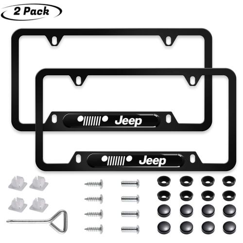 2pcs for Jeep License Plate Frame 3D Polyurethane Logo Matte Aluminum License Plate, Make Your Jeep License Plate Cover Stand Out from The Crowd,with