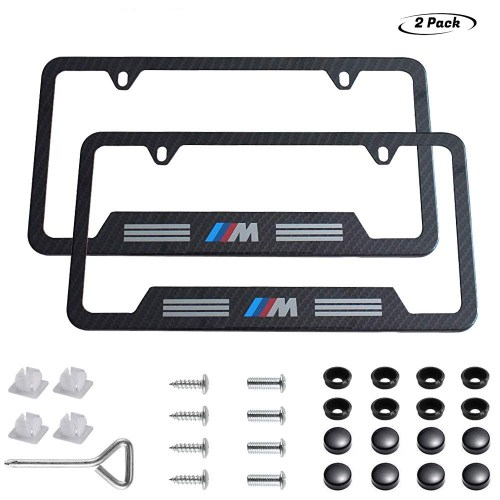 2pcs BMW-M & M-Performance Logo License Plate Stainless Steel Frame,Applicable to US Standard car License Frame
