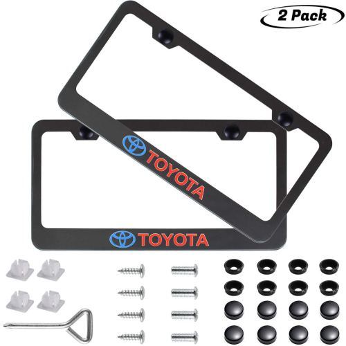 1x Laser Etched Fit Chevy Logo on Matte Black Powder Coated Bottom Cut Out Stainless Steel License Plate Frame Holder with Aluminum Screw Cap