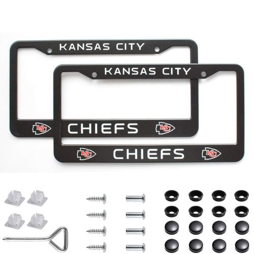 2Pcs 2 Holes Black Licenses Plates Frames For Kansas City Chiefs, Car Licenses Plate Covers Holders for US Vehicles (Kansas City Chiefs)