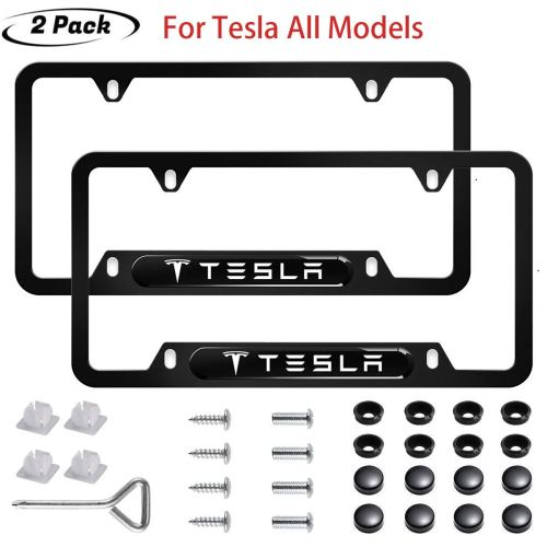 2pcs Tesla Logo License Plate Frame 3D Polyurethane Logo Matte Aluminum License Plate,with Screw Caps, License Plate Covers for Tesla All Models
