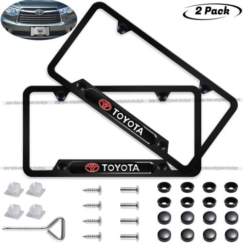2-Pieces Toyota License Plate Frame,Logo Before and After High-Grade Stainless Steel Resin Logo License Plate Frame for Toyota