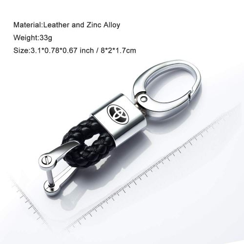 2Pack Genuine Leather Car Logo Keychain for Toyota Key Chain Accessories Keyring with Logo