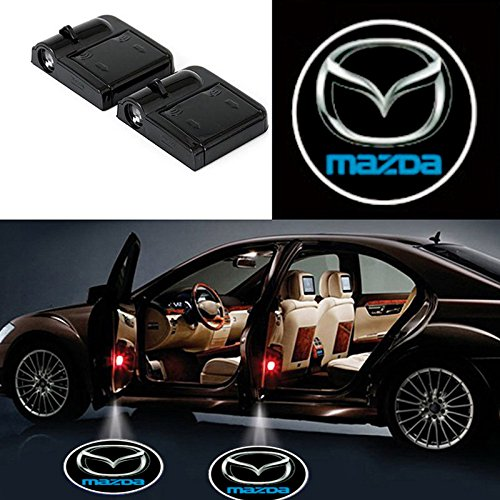 2 Pcs Wireless Car Door Led Welcome Laser Projector Mazda Light Ghost Shadow Light Lamp Logos
