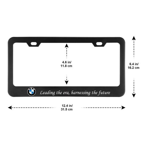 2Pcs Newest Matte Aluminum Alloy BMW Logo License Plate Frame,with Screw Caps Cover Set,Applicable to US Standard car License Frame, for BMW.(Black)