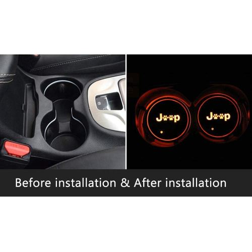 2pcs LED Car Logo Cup Holder Lights for Jeep, 7 Colors Changing USB Charging Mat Luminescent Cup Pad, LED Interior Atmosphere Lamp Decoration Light. (Jeep)