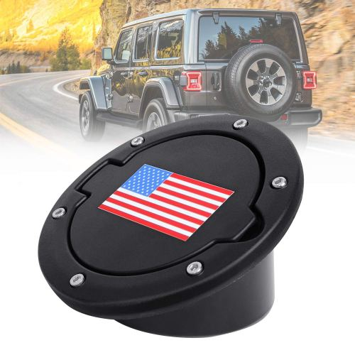Fuel Filler Door Cover, Gas Tank Cap for 2007-2017 Jeep Wrangler JK & Unlimited 2-Door 4-Door (USA Flag-Red & Blue)