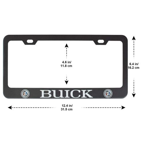 2pcs Stainless Steel License for Buick, Plate Frame with Screw Caps Cover Set, Matte Black