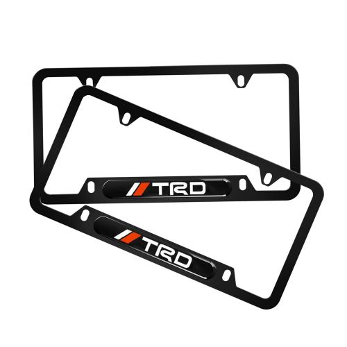 2Pcs Newest Custom Personalized 4 Hole Matte Aluminum alloy Toyota TRD Logo License Plate Framewith Screw Caps Cover Set,Applicable to US Standard car