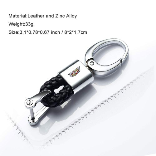2Pack Genuine Leather Car Logo Keychain Suit for Cadillac Key Chain Accessories Keyring with Logo