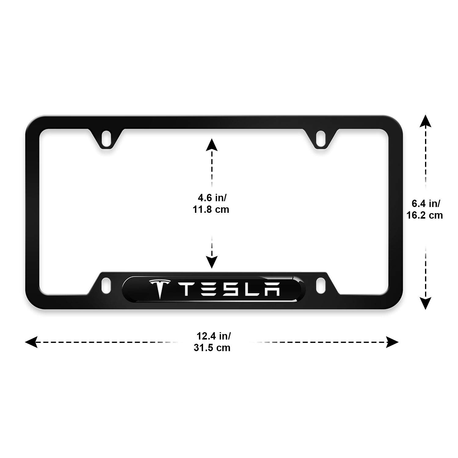 2X Tesla W Logo Stainless Steel License Plate Frame Rust Free W// Bolt Caps