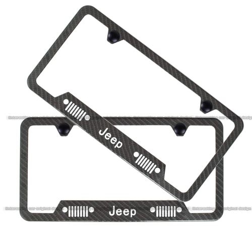 2pcs Heavy Duty Jeep Off-Road Logo License Plate Stainless Steel Frame,with Carbon Fiber Textured Glossy Finish for Jeep Emblem