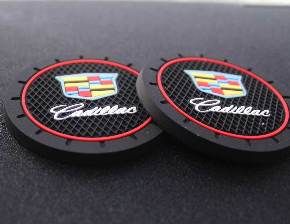 """2 2.75/"""" Cadillac Logo Round Cup Holder Coaster Universal New"""