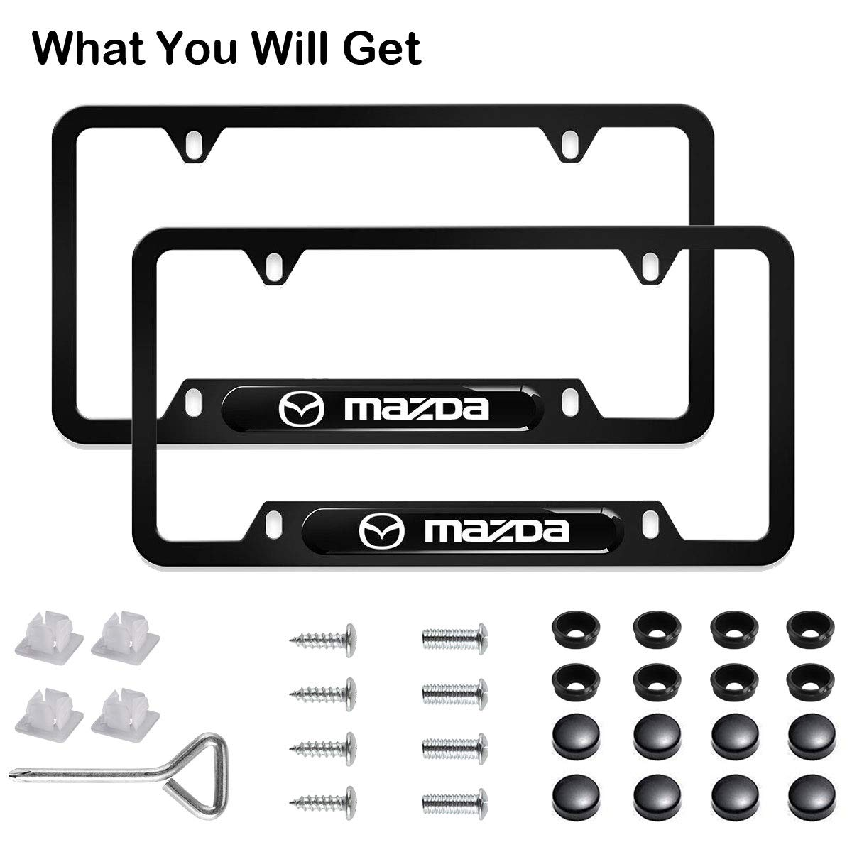Matte Black Aluminum Alloy License Plate Frame Matching with Screw Cover Set 2PCS License Plate Frames