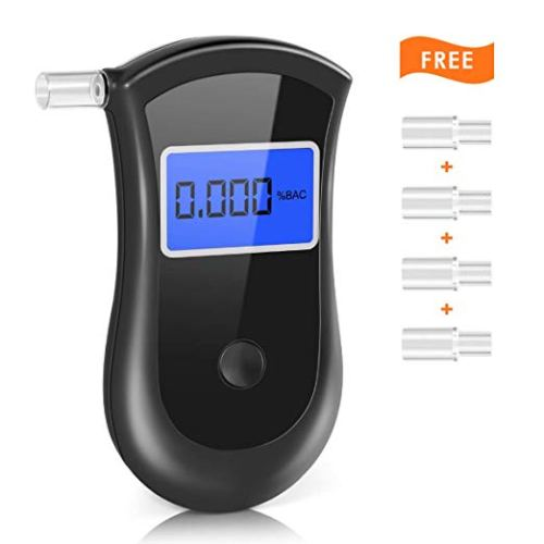 Breathalyzer, Portable Breath Alcohol Tester LED Screen with 5 Mouthpieces for Home Use
