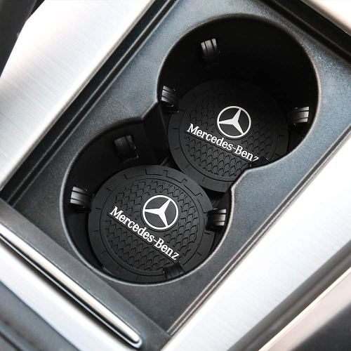 2 Pcs Auto Cup Holder Insert Coaster For Mercedes Benz +2 Pcs Seat Gap Filler For All Benz Models