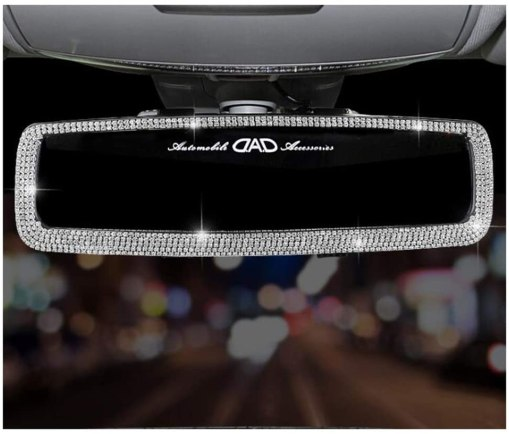 Siyibb Bling Rhinestones Car Rearview Mirror for Girls Auto Accessories - Jelly White