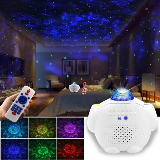Starry Night Light Projector Bedroom, 3 in 1 Ocean Wave Projector Galaxy Projector Light w/Bluetooth Music Speaker for Baby Kids Bedroom/Game Rooms/Home Theatre/Night Light Ambiance…