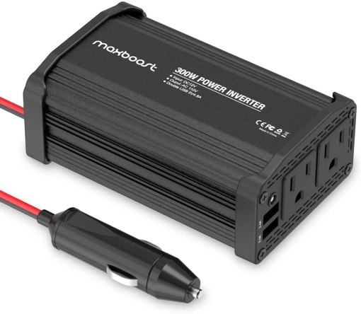 Maxboost 300W Power Inverter Dual 110V AC Outlet and 2.4A/24W USB Car Charger [Aluminum & PC Body] DC 12V to 110V AC + DC 5V USB Battery Charger for Laptop,iPad,iPhone,Tablet,Phone
