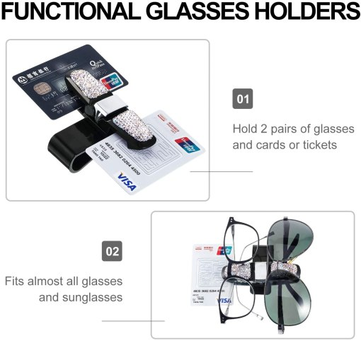 Frienda 2 Packs Glasses Holders for Car Sun Visor Bling Crystal Rhinestones Car Sun Visor Glasses Sunglasses Eyeglasses Mount Hanger with Ticket Card Clip Holder Accessories (Multi-Color)