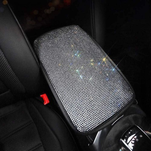 Bling Bling Car Center Console Cover Universal Car Armrest Cover Auto Arm Rest Cushion Pads Center Console Armrest Protector Fit for Most Vehicle, SUV, Truck Car Accessories For Women (White)