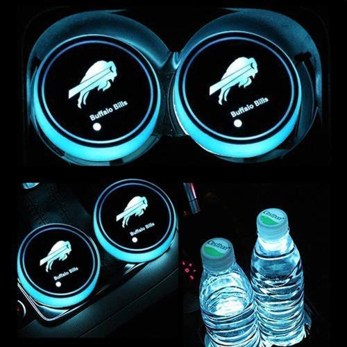 Fubai Auto Parts 2PCS American Football Collection for Tennessee Titans- LED Cup Holder Mat Pad Coaster with USB Rechargeable Interior Decoration Light (Tennessee Titans)