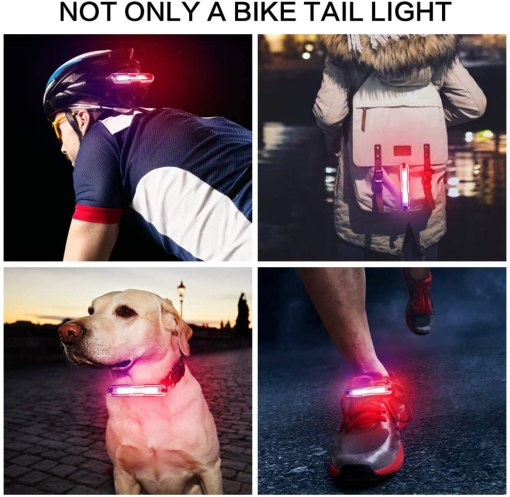 MapleSeeker Bike Tail Light, Rear Bike Light, USB Rechargeable Ultra Bright Bike Light, Easy to Install Waterproof LED Tail Light for Safe Cycling, 5 Lighting Modes