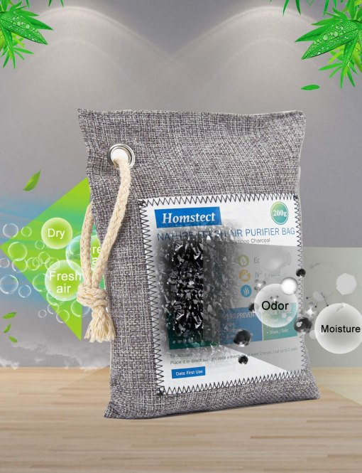 Homstect Bamboo Charcoal Air Purifying Bag, Nature Fresh Air Purifier Bags, Car Air Purifier, Shoe/Closet Freshener, 4Pack x 200g Activated Charcoal Bags, Odor Absorber for Shoes/Car/Pets/Closet/RV