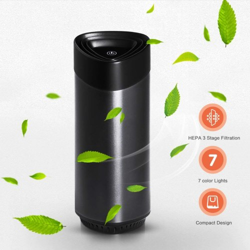 Mini Car Air Purifier with True HEPA Filter, Personal Desktop Air Cleaner with LED Light, Activated Carbon Freshener with Aroma Sponge for Car and Office, USB Port
