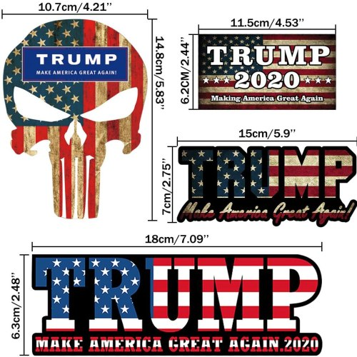iZoel Trump 2020 Stickers Car Decals Bumper Stickers, United States 2020 Presidential Election, Make America Great Again(4 Pack)
