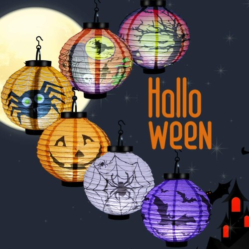 Halloween Paper Lanterns 6Pack, Luxiv Indoor Outdoor LED Paper Lanterns for Halloween Party Decor Pumpkin Lantern
