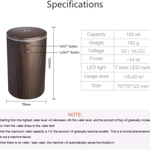 Akehuoeng USB Car Essential Oil Diffuser Car Diffuser Air Humidifier Ultrasonic Aromatherapy Diffusers with 7 Colorful LED Lights for Car Office Travel Home Vehicle (Black)