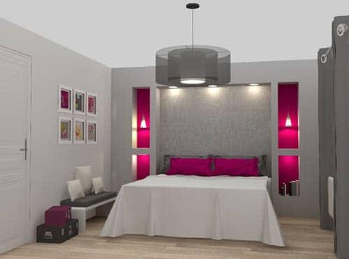 Une chambre moderne en camaieu de gris et fushia
