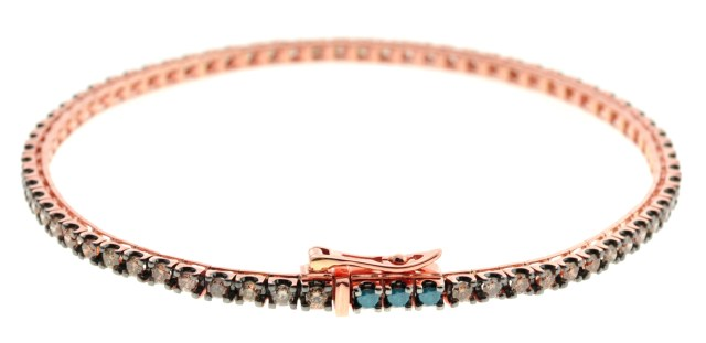 18K Rose Gold with Champagne Diamonds and 3 Blue Diamonds Bracelet