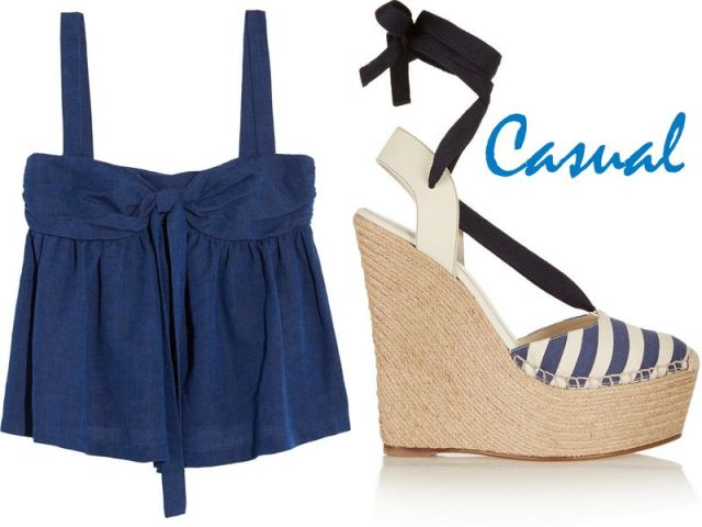 M MISSONI Bow-embellished denim top, £275 GUCCI Striped canvas and leather wedge espadrilles, £410