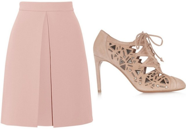 GUCCI, Pleated crepe skirt, £490; ALAÏA, Studded suede ankle boots, £1,270