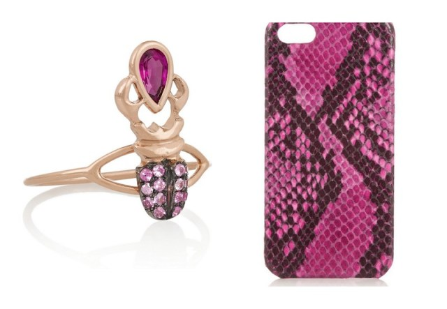 THE CASE FACTORY, Snake-effect leather iPhone 5 case, £85; DANIELA VILLEGAS, Khepri 18-karat rose gold, sapphire and ruby phalanx ring, £1,250